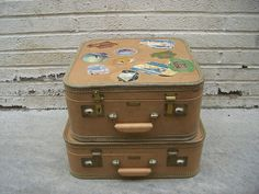 Vintage luggage 1940's set of 2 suitcases with by Simply2nds, $110.00