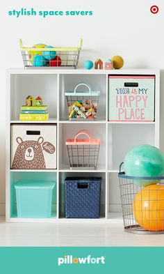 Pillowfort has the ultimate kid-friendly storage options! The wire, woven, fabric and plastic bins range in size and will fit perfectly in our Threshold cube shelving. The adorable graphics and colorful touches will add subtle style to any kid's bedroom or playroom—and keep everything in its place.