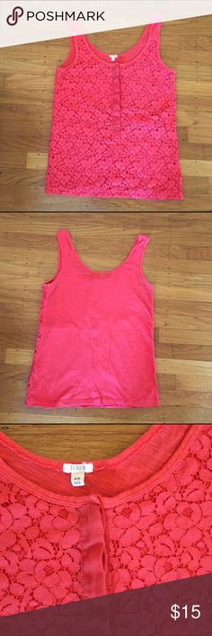 J.crew lace henley tank Punchy coral reddish pink tank with lace overlay front.  Perfect for summer!!  Henley half button front. Excellent condition J. Crew Tops Tank Tops