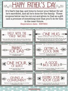 father's day coupons from kids | Father's Day Coupons