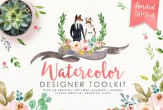 50%off-Watercolor Designer Toolkit by Graphic Box on @creativemarket