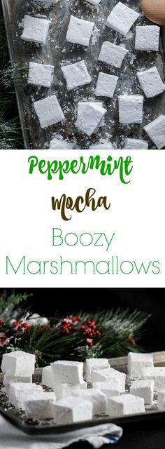 Peppermint Mocha Boozy Marshmallows - peppermint vodka, kahlua mocha. Desserts, alcohol, fondant, treats, recipe, frosting, fluff, icing, dip, homemade