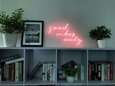 Neon – the word alone evokes all sorts of feelings. A little neon, A whole lot happy! ★ Neon tubes are glass so they are fragile. Get a beautiful neon art sign to dress up your wall! (This neon is designed by Scott Ryder. Neon Lights Bedroom, Neon Sign Bedroom, Wall Decor Lights, Bedroom Wall, Bedroom Ideas, Neon Wall Signs, Neon Signs Home, Artwork Lighting, Man Cave Room