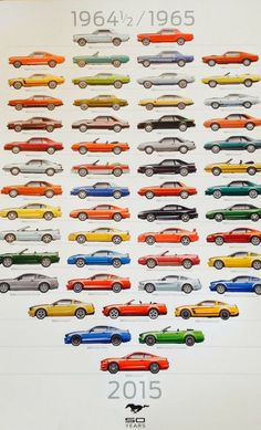 Mustang Anniversary Poster (showing to 2015 models); used as a giveaway at Brighton Ford. Mustang Anniversary Poster (showing to 2015 models); used as a giveaway at Brighton Ford. Ford Mustang Shelby Gt, Mustang Cars, Ford Mustangs, Ford Mustang History, Ford Mustang Models, Pink Mustang, Ford Mustang 1967, Shelby Gt500, Muscle Cars