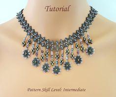 Beading tutorial pattern - beadweaving beaded superduo seed bead jewelry instructions - PENELOPE beadwoven necklace