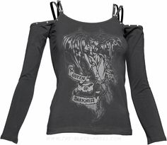 Gothic women's top with off-the-shoulder neck and straps, by Queen of Darkness.