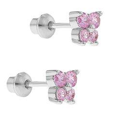 Childrens girls pink Eiffel Tower hoop earrings sterling silver pouch