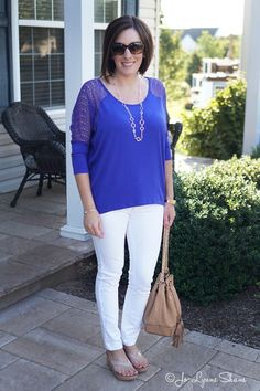 White Jeans with Royal Blue Top