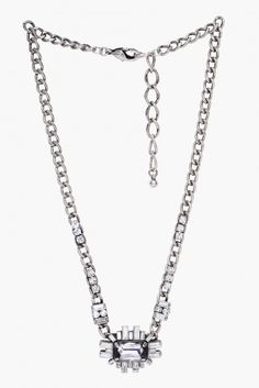 Joa Crystal Clear Statement Necklace in Silver