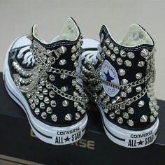 Details about Genuine CONVERSE with studs & chains All-star Chuck Taylor Sneakers Sheos Echte Converse Mit Nieten & Ketten All-Star Chuck Taylor Sheos Sneakers Mode, Sneakers Fashion, Fashion Shoes, Converse Sneakers, Diy Converse, Custom Converse, Skor Sneakers, Chucks Shoes, Converse Fashion