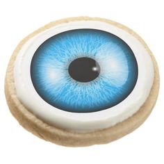 #Creepy Blue Realistic Eyeball Print Round Shortbread Cookie - #Halloween #happyhalloween #festival #party #holiday