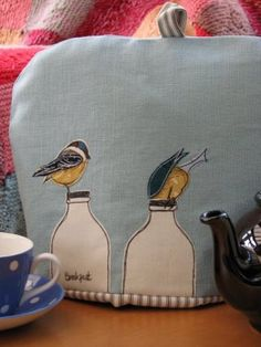 Items similar to Cheeky Blue Tit Tea Cosy titled Breakfast on Etsy. , via Etsy.