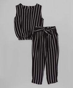 This Black Stripe Tank & Pants - Toddler & Girls is perfect! #zulilyfinds