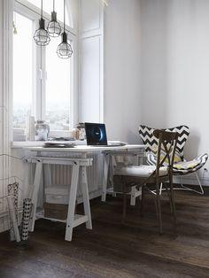 Home office em tons claros e madeira