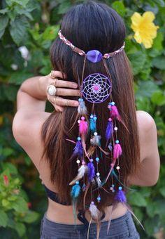 Delilah Bohemian Headband-pink and purple dream catcher headband … Mais Purple Dream Catcher, Look Boho Chic, Dream Catcher Craft, Bohemian Headband, Hippie Headbands, Feather Headband, Hippie Gypsy, Hippie Hair, Beautiful Dream
