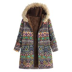 9946bed8ec8 New iFOMO Womens Winter Warm Outwear Plus Size Hooded Vintage Floral Print  Jacket Oversize Coats Women