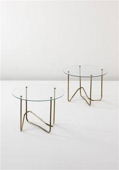 Mathieu Matégot, Tubular Brass and Glass Side Tables for Atelier Matégot, c1960.