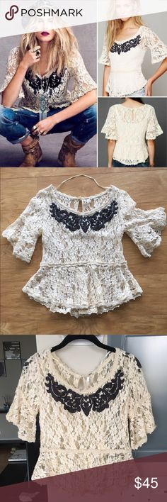 Free People Lace Peplum Top Cream Lace with Black design at the top! Great condition Free People Tops Blouses
