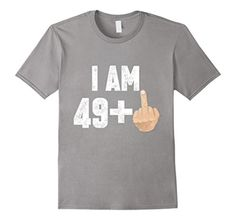Mens I Am 49 Middle Finger Funny 50th Birthday T Shirt 3XL Slate