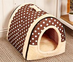 Winter Warm FOLDABLE NonSlip Outdoor Pet Kennel Cozy Dog House Cat Sofa Puppy Bed M 45x35x32cm Coffee Dot ** For more information, visit image link.