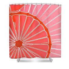 Hot Air Balloon Orange Shower Curtain