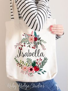 Personalised Name Marsala Floral Wreath Tote by RubyRidgeStudios