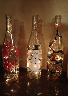 Hand painted wine bottles Christmas