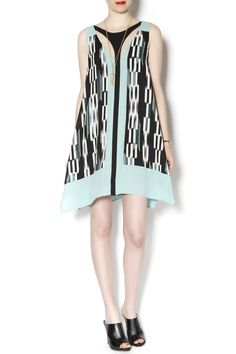 A-line BCBG dress in a mint and black pattern