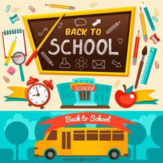 Cartoon back to school season design elements vector Back To School Sales, Back To School Shopping, School Advertising, Stem For Kids, School Posters, Fb Page, Flat Illustration, School Design, School Supplies