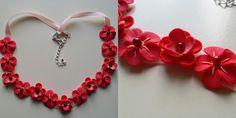 Colier rosu Flowers, Handmade, Jewelry, Fimo, Hand Made, Jewlery, Bijoux, Florals, Schmuck
