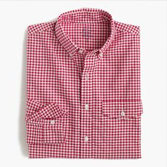 Slim lightweight oxford shirt in summertime gingham, red pepper - MSRP $69.50, paid $20.99+tax/ship