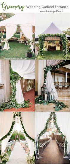 greenery garland wedding entrance decoration ideas #weddings #weddingcolors #weddingideas #springwedding #himisspuff #neutral #greenery #greeneryweddings