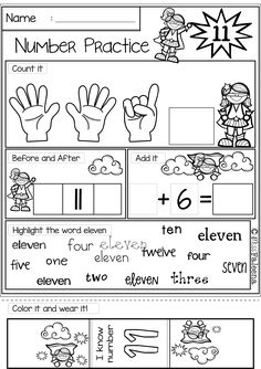 """This bundle includes 40 pages number 1-20 practice worksheets. This product is great for pre-k, kindergarten and first grade students. It will help children to master numbers from 1 to 20 in a many different ways. Children will learn numeral tracing, writing, coloring, drawing, tallying, finger counting, number words, finding, number sequencing, and adding. Also every time they finish a worksheet, they will be rewarded with """"I know the number"""" bracelet."""