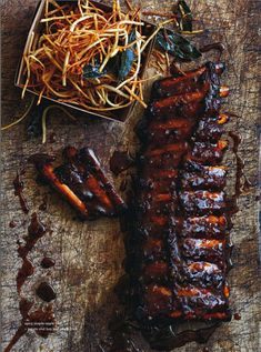 spicy maple apple ribs + potato and bay leaf fries.  donna hay magazine feb march 2014