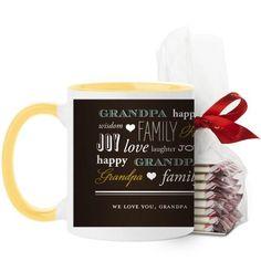 We Love Grandpa Mug, Yellow, with Ghirardelli Peppermint Bark, 11 oz, Brown