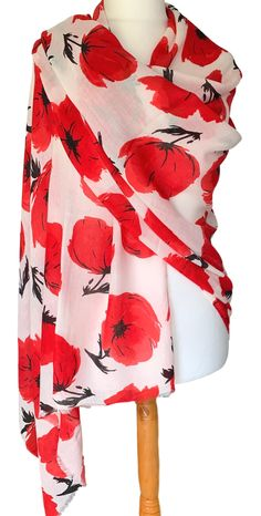 Large white and red Poppy print pashmina wrap / oversized scarf with lightly feathered fringing to the ends.  £12.99 with FREE UK Delivery.  Excellent quality fabric it drapes and falls beautifully, large enough to be worn in a number of different styles, the perfect fashion accessory.  Measurements : approx. 68 inch / 170 cm in length and 35 inch / 88 cm in width. Oversized Scarf, Large Scarf, Pashmina Wrap, Red Poppies, Large White, Free Uk, Different Styles, Poppy, Shawl