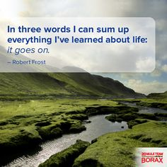 "In three words I can sum up everything I've learned about life: it goes on."" -Robert Frost #motivation"