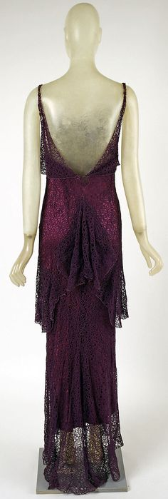 1930. Madeleine Vionnet, silk/cotton blend lace overlay with a silk under-layer dress. Floor-length evening couture gown. (back view with shorter under-layer to show lace off).