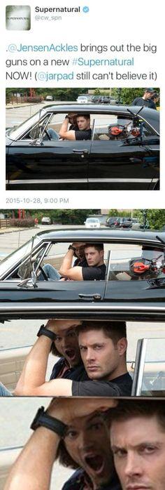 Jensen brings out the guns. Jared still can't believe it. Jensen Ackles - Jared Padalecki - Supernatural tweets - Dean Winchester - Sam Winchester