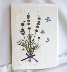 Fleurs carte de lavande avec des par PatsysPressedFlowers sur Etsy
