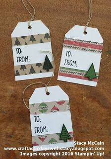 25 Days of Christmas Crafting - quick and easy tag idea using leftover scraps of seasonal paper. #holiday2016; #stampinup