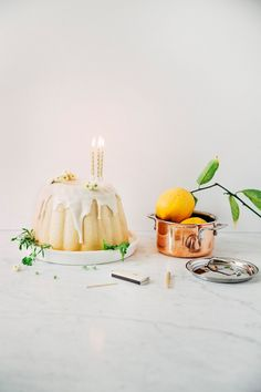 lemon celebration cake with vanilla chamomile glaze