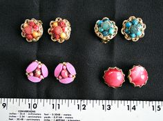 Lot (4), vintage clip-on earrings.  Made in Hong Kong. Very Pretty.  Would be great for someone who never had their ears pierced. Old, used. by SomethingElse570 on Etsy