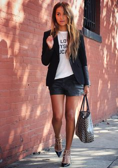 Sincerely Jules :: Rag & Bone blazer, A Fine Line tee + & For All Mankind shorts + Valentino heels