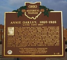 Annie Oakley, Ohio historical marker