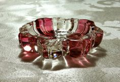 Ruby Glass Ashtray From Vintage Era When People Smoked in Other People's Houses SOLD