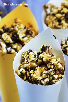 Step-by-step photo recipe tutorial to making these super fun Grab-n-Go Cheetah Crunch Cones (aka caramel popcorn with a chocolate drizzle).  Perfect for a kids party or an afternoon snack, or just having the girls/guys over for a movie night!