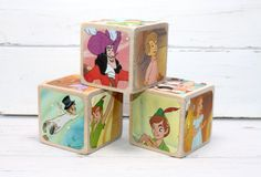 Baby Shower Gift  Peter Pan  Baby Blocks  Nursery by Booksonblocks