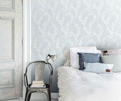 A floral design sold by S& A Supplies at discounted prices Wallpaper Decor, Modern Wallpaper, Decor Room, Bedroom Decor, Home Decor, Scandinavian Wallpaper, Blue Wallpapers, Blue Bedroom, Contemporary Interior