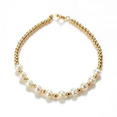 This pearl bracelet with gold colored beads separating the pearls is fit for a princess. It's the perfect accessory to a classic, elegant outfit and adds a touch of femininity to formal dress. Freshwater Pearl Bracelet, Pearl Jewelry, Wholesale Jewelry, Wholesale Fashion, Strand Bracelet, Elegant Outfit, Cultured Pearls, Pearl White, Gold Necklace